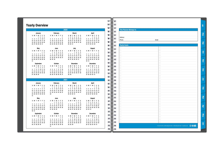 yearly overview displaying the 2020-2021 reference calendar on the left page and owner information and yearly goals on right page