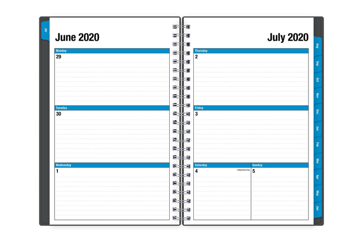 A 2020-21 school planner featuring July weekly spread with lined writing space and blue borders and monthly tabs.