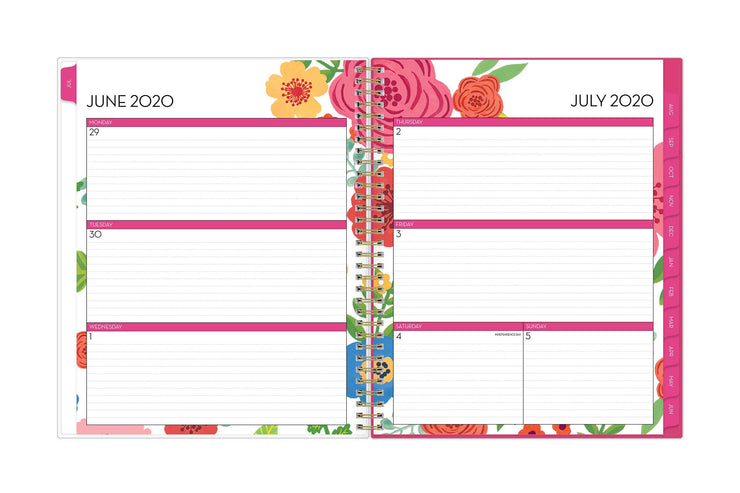 July 2020 weekly spread with ample writing space for the school year featuring magenta borders and floral patterns