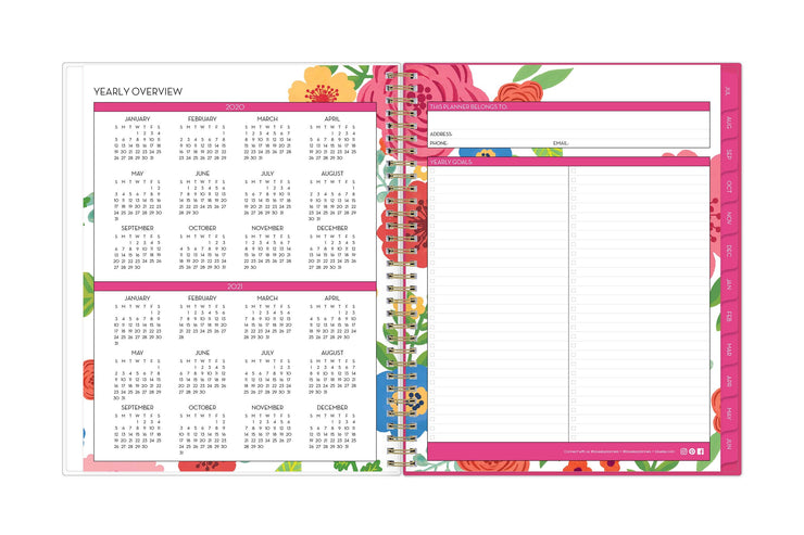 2020-2021 reference calendar for the school year on left page and owner information and yearly goals on right page