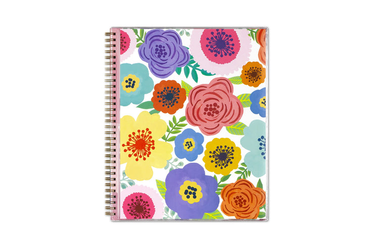 Floral, flexible front cover with multiple colors and gold twin wire-o binding