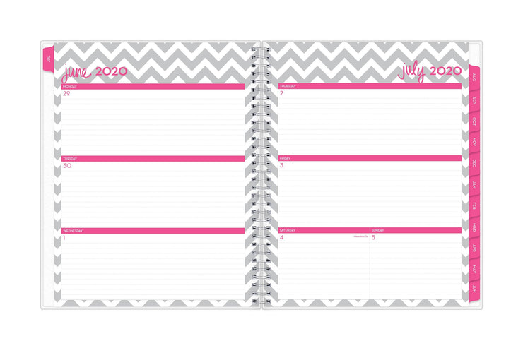 Blue Sky academic planner featuring July's weekly spread with ample lined writing space and magenta monthly tabs