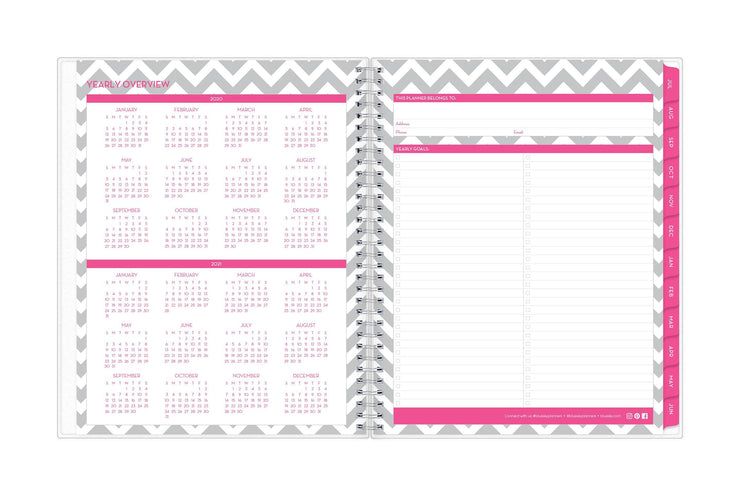 2020-21 academic year reference calendar on an 8.5x11 planner with magenta borders and monthly tabs