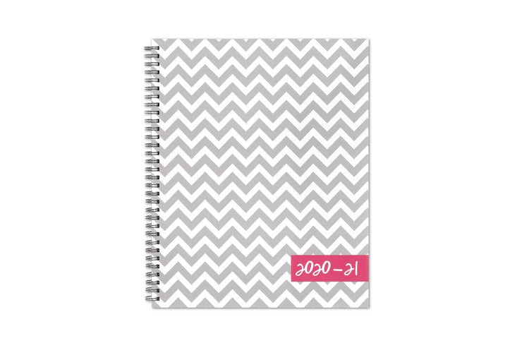 Zigzag gray stripes for the front cover in 8.5x11 size, silver twin wire-o binding, and pink 2020-21 academic school year title