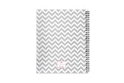 Blue Sky's ollie planner for 2020-2021 academic year with white and grey zigzag patterns and silver twin wire-o binding
