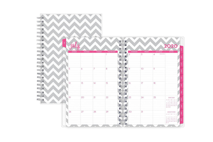 July 2020 monthly spread to June 2021 with a notes section and magenta borders and monthly tabs