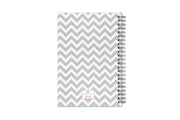 Blue Sky's 5x8 academic planner with a white and grey zigzag pattern for the back cover with silver twin wire-o binding