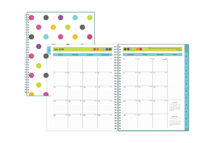 july 2020 school year monthly spread with lined notes section and ample writing space.