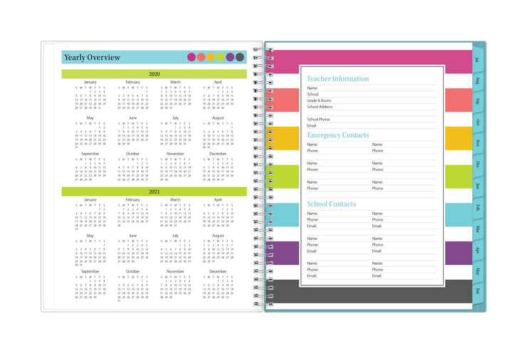 2020-2021 teacher planner featuring a school and academic reference calendar for planning.