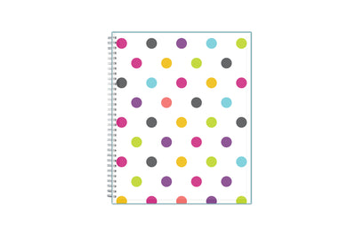 2021-2022 academic teacher lesson planner with weekly and monthly layouts featuring a multi colored poka dot front cover in 8.5x11 planner size