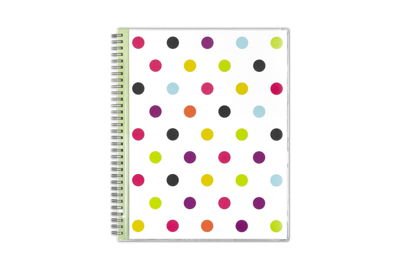 teacher planner for 2020-2021 in 8.5x11 page size with a white back ground and multi-colored polka dot front cover