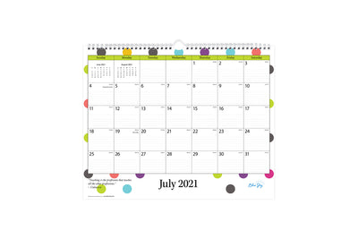 July 2021 - June 2022 Wall calendar for academic school year featuring lined writing space and poka dot design with silver twin wire-o binding
