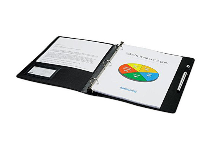 professional 1 and 1/2 in faux leather presentation binder with custom front cover, pen loop, business card holder, and storage pockets for presentation