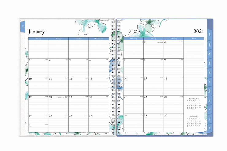 january 2021 to december 2021 weekly monthly planner in 8.5x11 size featuring a monthly view with ample lined writing space and blue monthly tabs