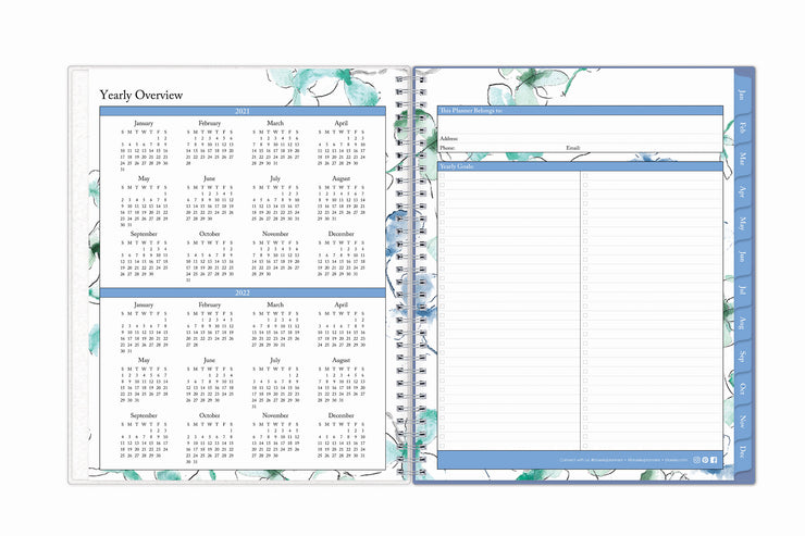 Easy year-round planning with blue sky's 8.5x11 weekly monthly planner featuring a yearly overview for 2021 and 2022 with yearly goals and contact information