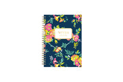 5.75x8.5 floral designed notebook featuring ample writing space for notes, a gold twin wire-o binding, and a smart way to start planning