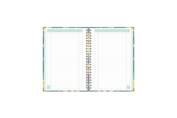 Day designer for blue sky floral notebook featuring ample lined writing space for important dates, notes, to-do lists, bullet points, and mint border.