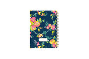 5.75x8.5 floral designed notebook featuring ample writing space for notes, a gold twin wire-o binding, and a smart way to start planning, back cover with gold foil
