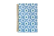 5x8 day designer planner for blue sky featuring a tiles design in shades of blue and gold twin wire binding for this 2021 weekly monthly planner