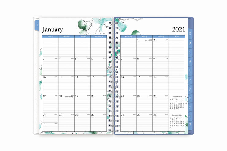 january 2021 to december 2021 weekly monthly planner in 5x8 size featuring a monthly view with ample lined writing space and blue monthly tabs