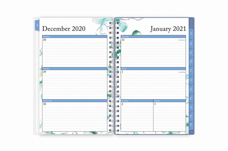blue sky 2021 weekly planner for the new year featuring a weekly view with ample lined writing space for all your notes and light blue monthly tabs