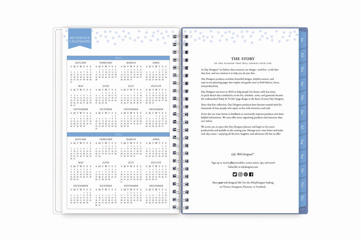 Easy year-round planning with blue sky's 5x8 weekly monthly planner featuring a yearly overview for 2021 and 2022 with yearly goals and contact information