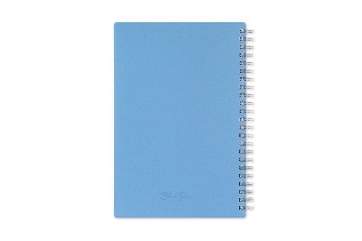 2021 weekly monthly planner with a light blue back cover, silver twin wire-o binding on this Blue Sky weekly monthly planner