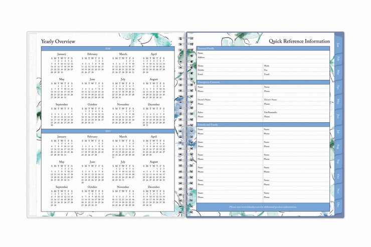 Easy year-round planning with blue sky's 8x10 weekly monthly planner featuring a yearly overview for 2021 and 2022 with yearly goals and contact information