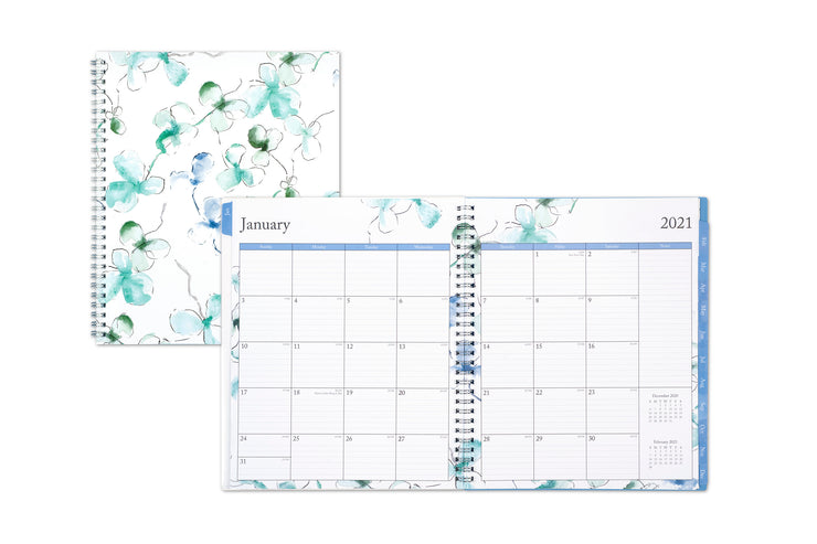 january 2021 to december 2021 weekly monthly planner in 8x10 size featuring a monthly view with ample lined writing space and blue monthly tabs