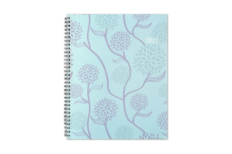Blue Sky 2021 weekly monthly planner in 8.5x11 size featuring a mint background and dandilions