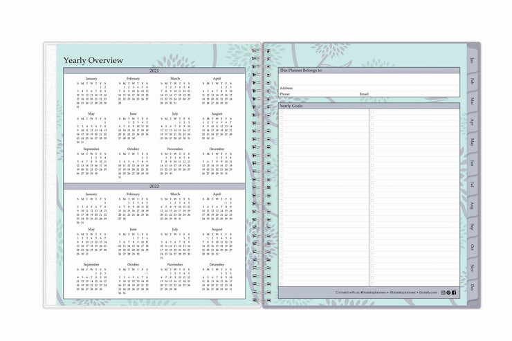 Yearly overview for 2021 and 2022 to plan your new year alongside a page for yearly goals, check boxes, notes, and contact information