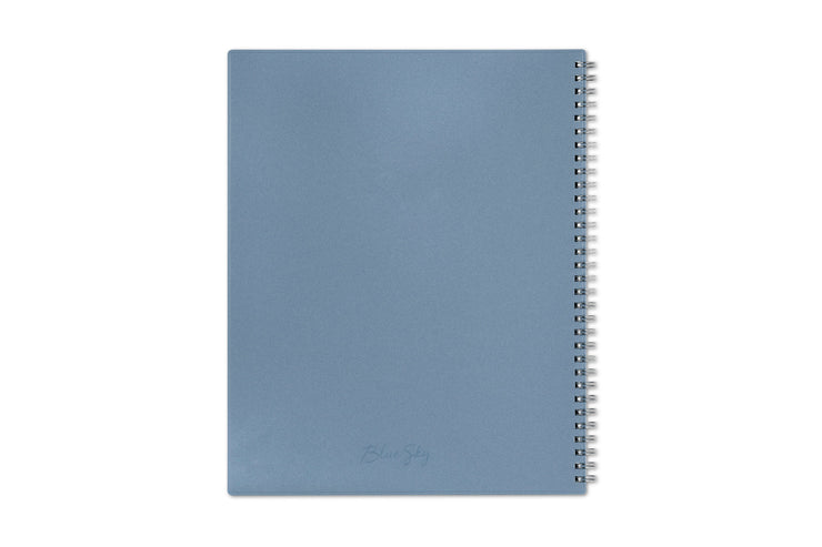 2021 weekly monthly planner for the new year featuring a 8.5x11 size, silver twin wire-o binding, and blue grey backcover