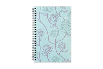 Blue Sky 2021 weekly monthly planner in 5x8 size featuring a mint background and dandilions