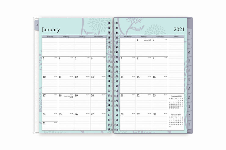 January 2021 to December 2021 weekly planner by blue sky featuring a monthly view with lined writing space, notes section, and two month reference calendar with grey monthly tabs