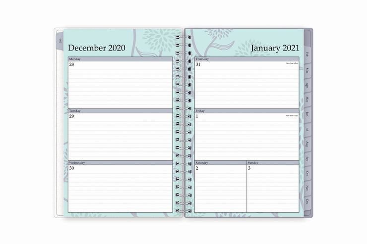 January 2021 - December 2021 weekly planner in 5x8 size with ample lined writing space Monday through Sunday and grey monthly tabs