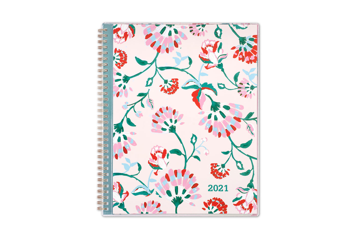 breast cancer awareness 2021 planner by blue sky featuring pink flowers and blush background on the front cover in a 8.5x11 size