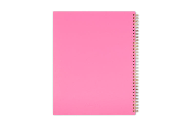 Pink back cover for this 2021 planner featuring support for breast cancer awareness with gold twin wire-o binding in 8.5x11 size