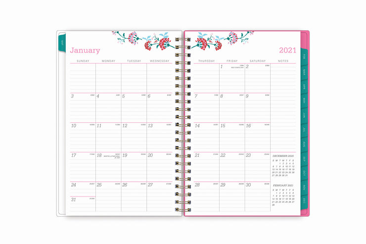 Featuring a January 2021 to December 2021 monthly view, there is lined writing space for each date, a notes section, reference calendars, and teal monthly tabs