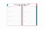 January 2021 to December 2021 weekly monthly planner featuring ample lined writing space, weekly to do list, notes section, and with teal monthly tabs