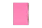 Pink back cover for this 2021 planner featuring support for breast cancer awareness with gold twin wire-o binding in 5x8 size