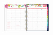 Colorful January 2021 monthly overview with to do lists, notes section, square boxes with lined writing space for dates, and rainbow colored monthly tabs