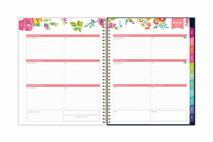January 2021 weekly monthly planner featuring a weekly view, lined writing space, to do lists, priorities, and rainbow colored monthly tabs on a 8.5x11 planner