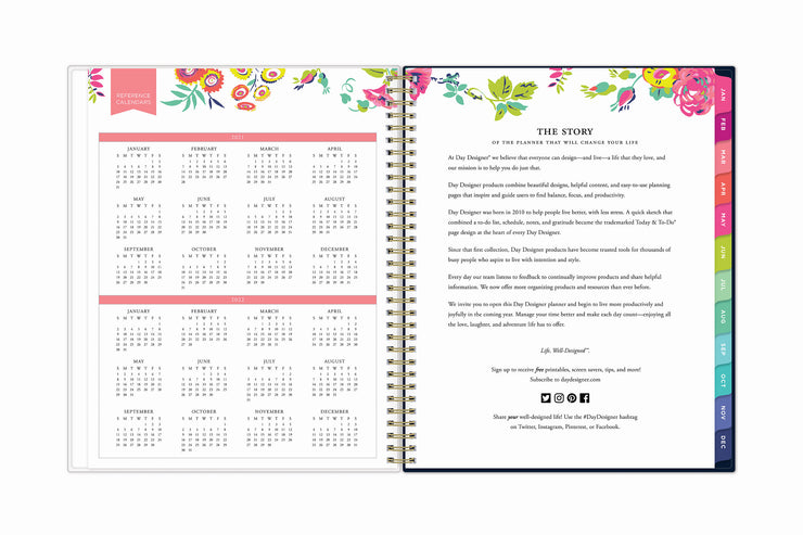 a 8.5 x 11 weekly monthly planner with a reference calendar for 2021 and 2022 with rainbow colored monthly tabs