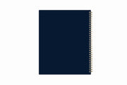 day designer 2021 weekly planner with a navy blue backcover and gold twin-wire binding 8.5x11