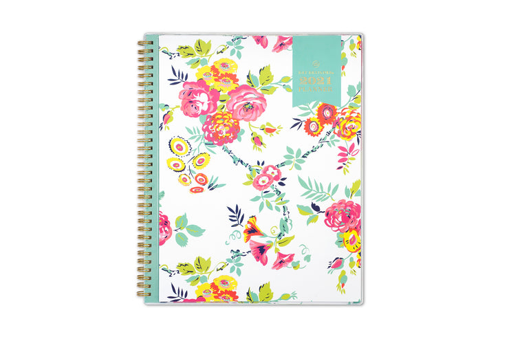 2021 weekly monthly planner in 8.5x11 size from day designer for blue sky with white background and pink floral imprints