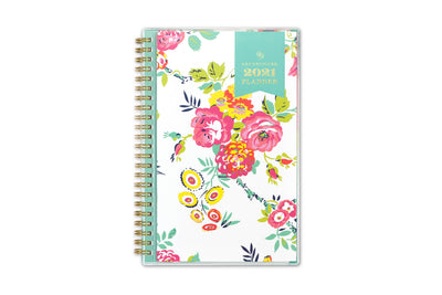 2021 weekly monthly planner in 5x8 size from day designer for blue sky with white background and pink floral imprints