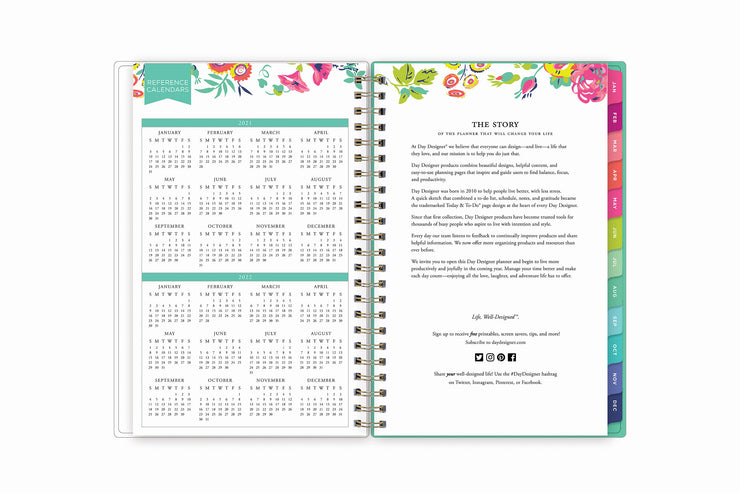 a 5x8 weekly monthly planner with a reference calendar for 2021 and 2022 with rainbow colored monthly tabs