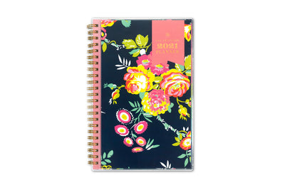 2021 weekly monthly planner in 5x8 size from day designer for blue sky with navy background and floral imprints