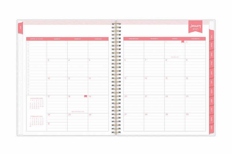 January 2021 to december 2021 daily planner for blue sky from day designer with pink accents, white background, and monthly 2021 view