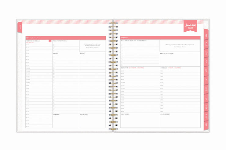 January to December yearly calendar overview for both 2021 and 2022 on a 8x10 daily monthly planner by day designer for blue sky